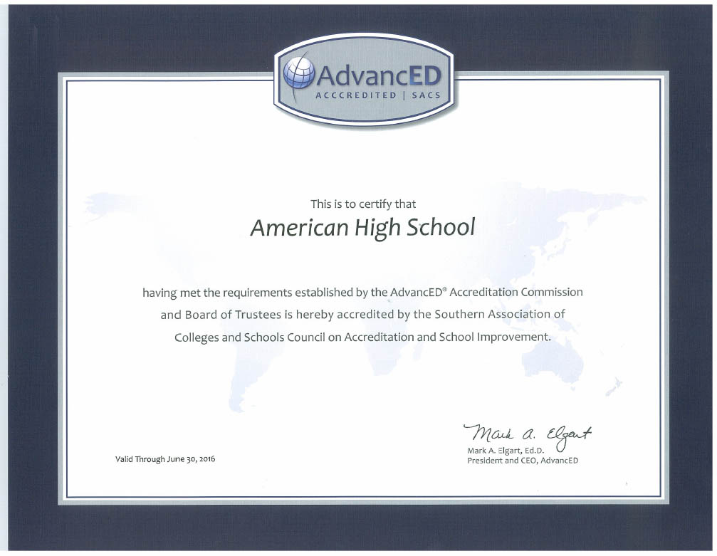 Online high school the american experience click here to view the certificate of accreditation 1betcityfo Image collections