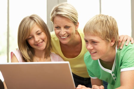 Students Engaged and Interacting in an Online School and Homeschool environment.